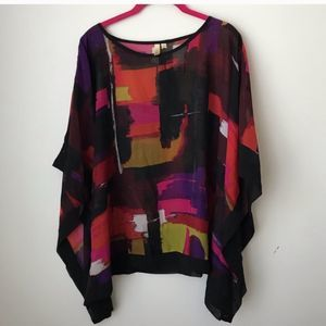 Colorful sheer poncho blouse